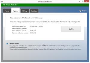 Windows 8 Windows Defender updates