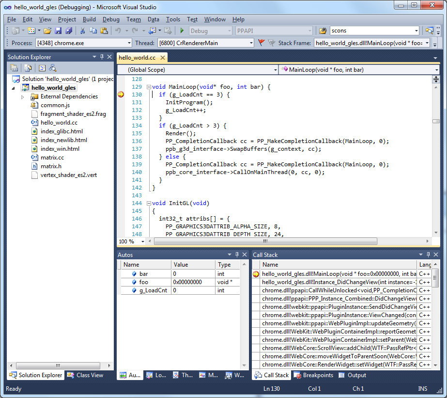 NaCl project open in Visual Studio